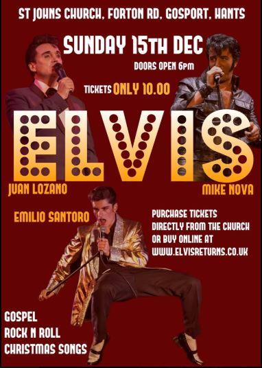 Sunday 15th December Elvis Doors 6 pm £10