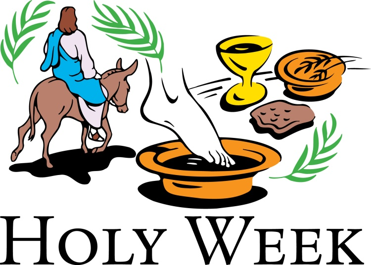 Holy Week clipart, showing palms, Jesus on a donkey, footwashing and Communion elements.